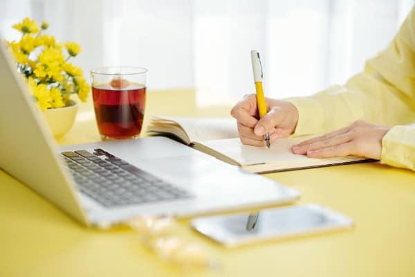 Lekker vanuit huis werken dankzij online scriptiebegeleiding.